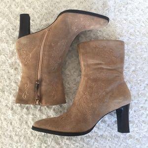 Ralph Lauren Corina Suede Leather Mid Calf Boots